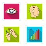 Poor vision, headache, glucose test, insulin dependence. Diabetic set collection icons in flat style vector symbol stock. Illustration Royalty Free Stock Photo