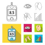 Poor vision, headache, glucose test, insulin dependence. Diabetic set collection icons in outline,flat style vector. Symbol stock illustration Stock Photos