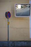 Poor vision junction with traffic mirrors Stock Photography