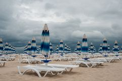 Poor weather for beach relax stock image