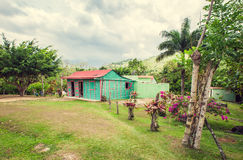 Poor woden cabins at Dominican Republic, island Stock Images