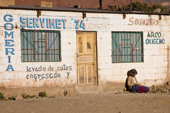 Poor woman, Bolivia stock images