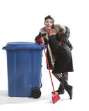 Poor woman near trash can Royalty Free Stock Images