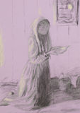 Poor woman praying, pencil sketch Stock Images