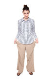 Poor - woman standing with empty pockets Stock Images