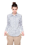 Poor - woman with turned out pockets Stock Photography