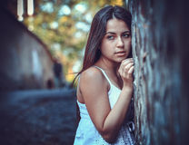 Poor young woman on the street Royalty Free Stock Photos