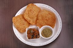 Poori with chutney and subzi Royalty Free Stock Photography