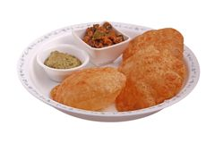 Poori with chutney and subzi isolated Royalty Free Stock Photo