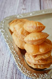 Pooris. Indian traditional dish on a tray Royalty Free Stock Photography
