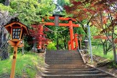 Poort aan Chureito-Pagode, het Heiligdom van Arakura Sengen, in Japan Stock Foto's