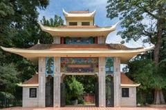 Poort aan Japanse sectie van Lal Bagh Botanical Garde van Bengaluru Stock Foto