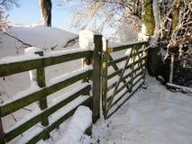Poort in sneeuw met bomen op achtergrond wordt behandeld die Royalty-vrije Stock Afbeeldingen