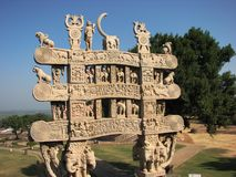 Poort van Sanchi; Oude Stupa in Madhya Pradesh Stock Fotografie