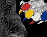 Poot van een beer op een zwarte achtergrond, gekleurde klauwen vector illustratie