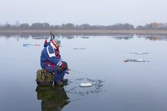 połowu rybi lód właśnie kłama Russia Transbaikalia łapać w pułapkę zima Fotografia Royalty Free