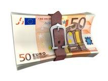 Popędzająca sterta euro pieniędzy banknoty Fotografia Stock