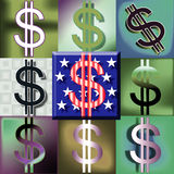 POP American Dollar sign Green Back. Red white and blue dollar sign center pop art style arrangement Royalty Free Stock Photos