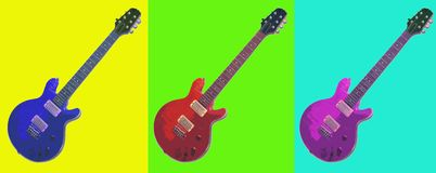 Pop Art. Electric Guitar Pop Art Strip vector illustration