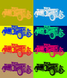Pop art. Original drawing in style with unusual item as an old car, vector EPS available Stock Images