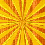 Pop art abstract background with orange sunbeams and halftone dots. Vector illustration stock illustration