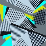 Pop Art Abstract Geometric Collage Blue-Patroon stock illustratie
