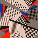 Pop Art Abstract Geometric Collage Red-Patroon Stock Afbeelding