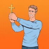 Pop Art Afraid Man Defending van Geweld met Kruis Geschokte kerel stock illustratie
