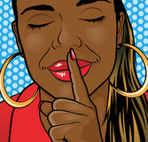 Pop Art African American Girl Sshhh Lips. Stock Image