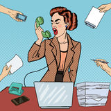 Pop Art Aggressive Business Woman Screaming into the Phone at Multi Tasking Office Work Stock Photography