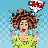 Pop Art Aggressive Furious Screaming Woman Arkivbilder