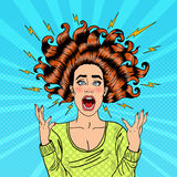 Pop Art Aggressive Furious Screaming Woman with Flying Hair and Flash Stock Images