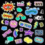 Pop art ajustado com crachás do remendo da forma Etiquetas, pinos, remendos, coleção sutil, escrita à mão das notas estilo 80s-90 Imagens de Stock Royalty Free