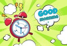 Pop art alarm clock. Cartoon retro time background wake up countdown surprise watch funny timer. Halftone cartoon comics vector illustration