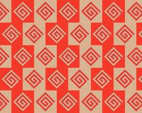 Pop Art Alternate Greeks Pattern Red Beige Stock Images