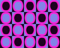 Pop Art Alternate Ovals Pattern Fuchsia Black Blue Stock Images