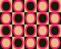 Pop Art Alternate Ovals Pattern Red Black Orange Stock Photography