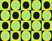 Pop Art Alternate Ovals Pattern Yellow Green Black Stock Image
