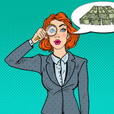 Pop Art Amazed Business Woman with Magnifier Found Money Royalty Free Stock Images