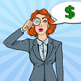 Pop Art Amazed Business Woman with Magnifier Found Money Stock Image