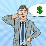 Pop Art Amazed Businessman with Magnifier Found Money Royalty Free Stock Photo