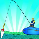 Pop art Angling person with rod in a boat on calm lake water silhouette. Cartoon simple minimal. Fisher Image Comic book. Pop art Angling person with rod in a Royalty Free Stock Image