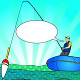 Pop art Angling person with rod in a boat on calm lake water silhouette. Text bubble. Fisher Image Comic book. Pop art Angling person with rod in a boat on calm Royalty Free Stock Images