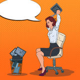 Pop Art Angry Business Woman Throwing Laptop to the Trash Bin. Stress at Work Royalty Free Stock Image