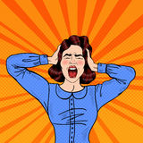 Pop Art Angry Frustrated Woman Screaming Arkivfoto