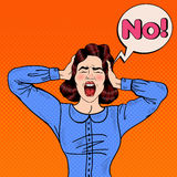 Pop Art Angry Frustrated Woman Screaming and Holding Head with Comic Speech Bubble No Stock Images