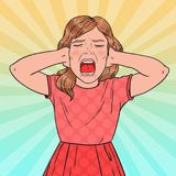 Pop Art Angry Little Girl Screaming. Aggressive Child. Kid Emotional Facial Expression Royalty Free Stock Photography