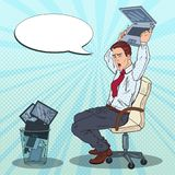 Pop Art Annoyed Businessman Throws Out Laptop. Stress at Office Work Royalty Free Stock Photos