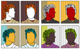 Pop-art anonymous portraits royalty free illustration
