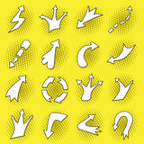 Pop art arrows set. On yellow background Royalty Free Stock Photography